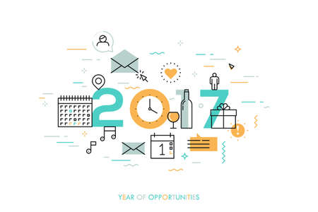 expectations: Infographic concept 2017 year of opportunities. Plans and expectations for holidays, new years party, vacation. Gifts and surprises. Vector illustration in thin line style for banner, header.