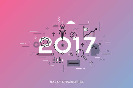 expectations: Infographic concept 2017 year of opportunities. New trends and prospects in startups, business development, profit growth strategies. Plans and expectations. Vector illustration in thin line style. Illustration