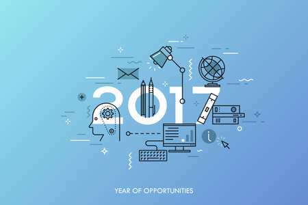 online education: Infographic banner 2017 year of opportunities. New trends and prospects in internet blogging, communication, networking, online education and e-learning. Vector illustration in thin line style. Illustration