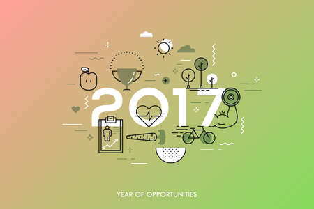 predictions: Infographic banner 2017 year of opportunities. New trends and prospects in healthcare, sports, fitness, lifestyle, sport nutrition. Plans and predictions. Vector illustration in thin line style.