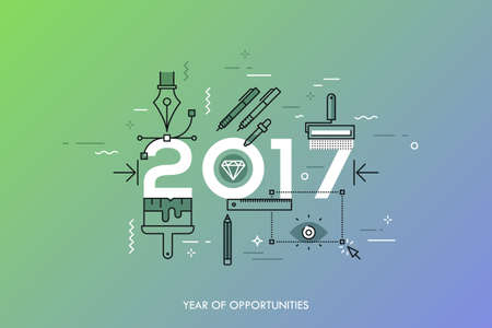 graphic design: Infographic banner 2017 year of opportunities. New trends and prospects in graphic, web and digital design, concepts, techniques and tools for designers. Vector illustration in thin line style.