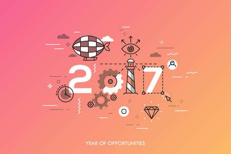 유행: Infographic concept 2017 year of opportunities. Hot trends and perspectives in travel and adventure tourism industry, navigation tools, leisure activities. Vector illustration in thin line style. 일러스트