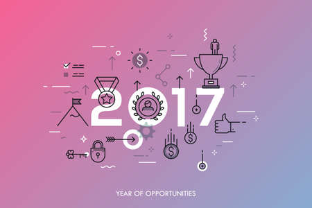 expectations: Infographic banner 2017 year of opportunities. New trends and prospects in leadership and successful business development strategies. Plans and expectations. Vector illustration in thin line style.