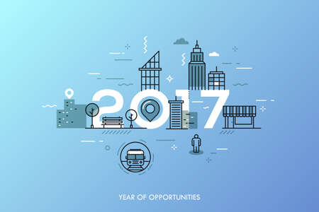 dweller: Infographic banner 2017 year of opportunities. New hot trends and prospects in urbanism, cities development, transportation, design of built environment. Vector illustration in thin line style.