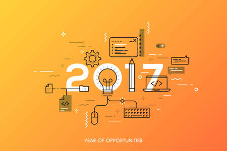 Infographic banner 2017 year of opportunities. New hot trends and prospects in software, front-end web development, program coding, programming languages. Vector illustration in thin line style. Ilustração