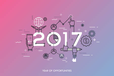 Infographic concept 2017 year of opportunities. New trends and prospects in global business communication, networking, teamwork strategies. Hopes and fears. Vector illustration in thin line style. 向量圖像