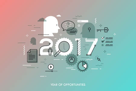 prediction: Infographic banner 2017 year of opportunities. New trends and prospects in online information search technologies, data exchange, internet content sharing. Vector illustration in thin line style.