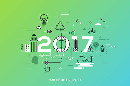 ecological: Infographic concept 2017 year of opportunities. New trends and prospects in environmental and eco-friendly technologies, energy saving, ecological recycling. Vector illustration in thin line style.