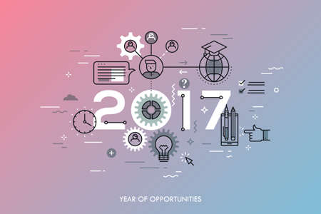 program: Infographic concept 2017 year of opportunities. New trends and prospects in international education, student exchange programs, online and distance learning. Vector illustration in thin line style.