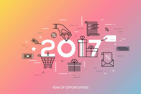 luxury goods: Infographic concept 2017 year of opportunities. New trends and prospects in internet shopping, online sales and discounts, buying luxury goods. Vector illustration in thin line style for banner.