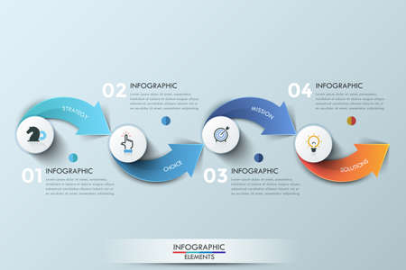 design process: Modern infographics options banner with 4-step arrows process. Vector. Can be used for web design, presentations, brochures and workflow layout