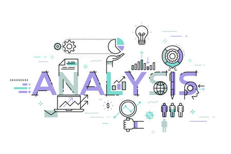 data line: Modern thin line design concept for analysis website banner. Vector illustration concept for business analysis, market research, product testing, data analysis.