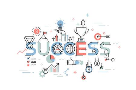 Moderne dünne Linie Design-Konzept für den Erfolg Website Banner. Vektor-Illustration für den geschäftlichen Erfolg, sportlichen Leistungen, Erfolge in der Wissenschaft und verschiedenen Wettbewerben, Finanzergebnisse, Beratung.