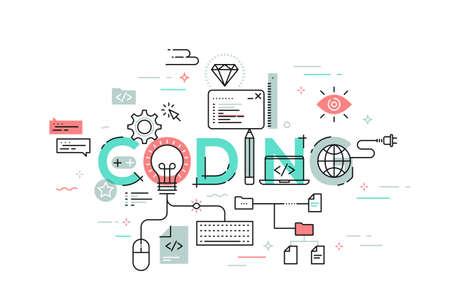 Concept d'illustration vectorielle moderne du codage de mots. Bannière design plat en ligne mince pour site Web et application mobile, facile à utiliser et hautement personnalisable.