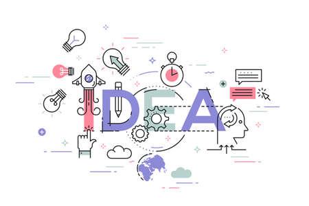 Dunne lijn plat ontwerp banner van creatieve ideeën, goede zakelijke ideeën en kansen. Vector illustratie concept van woord idee voor web en mobiele website banners, makkelijk te bewerken, aan te passen en te veranderen