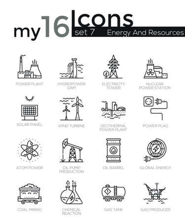 industria quimica: iconos de líneas finas Conjunto moderno de la industria produsing energía, plantas de energía, recursos. calidad de la captación símbolo del esquema de suscripción. paquete pictograma mono lineal simple. Tiempos de vectores logotipo de concepto para gráficos web.