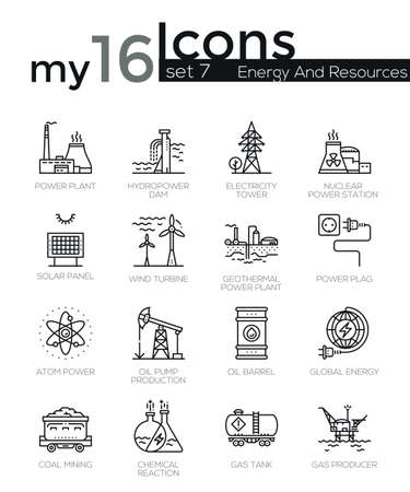 hydro: Modern thin line icons set of energy produsing industry, power plants, resources. Premium quality outline symbol collection. Simple mono linear pictogram pack. Stroke vector logo concept for web graphics. Illustration