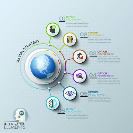 Business computer network. Global template with white circles and colorful lines. Can be used for workflow layout, banner, diagram, web design, presentations. infographic template. Vettoriali