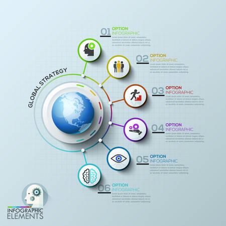 Rete di computer aziendale. Modello globale con cerchi bianchi e linee colorate. Può essere utilizzato per layout del flusso di lavoro, banner, diagramma, web design, presentazioni. Modello di infographic. Vettoriali