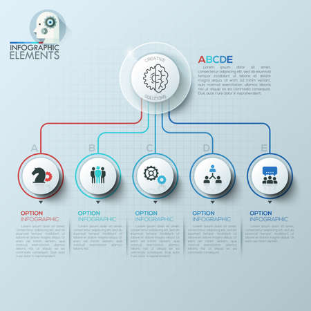 compare: Vector elements for infographic. Template for diagram, graph, presentation and chart. Business concept with 5 options, parts, steps or processes. Abstract background