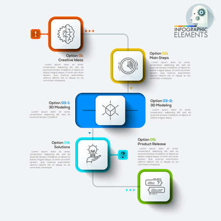 design process: Vector illustration process infographics with rounded rectangles. Can be used for workflow layout, banner, diagram, web design, presentations. infographic template.