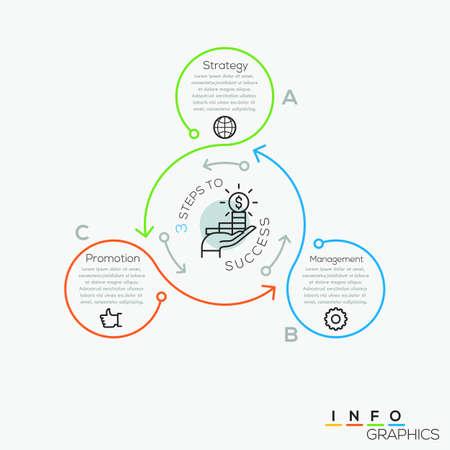 細い線最小限矢印ビジネス サイクル インフォ グラフィック テンプレート。ベクトルの図。ワークフローのレイアウト、図、番号のオプション、web