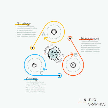 Thin line minimal arrow business cycle infographic template. Vector illustration. Can be used for workflow layout, diagram, number options, web design, infographics and timeline. Vector Illustration