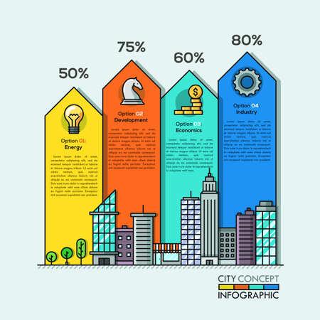 стиль жизни: Городская жизнь Информационные стрелки для четырех вариантов, шагов или процессов в тонком стиле линии. Может использоваться для компоновки рабочего процесса, диаграммы, параметров числа, параметров повышения, веб-дизайна, шаблона баннера, инфографики.
