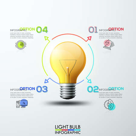 target thinking: Abstract infographics numbers step options template. Lightbulb ideas concept, creative thinking drawing, business success strategy plan ideas. Vector illustration modern layout template