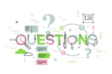 customer service: Thin line design concept for questions website banner. Vector illustration concept for frequently asked questions or questions and answers, client or customer support, product and service information.