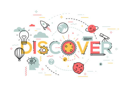 design solutions: Thin line flat design banner for discover web page, new solutions, technology, knowledge and science. Modern vector illustration concept of word discover for website and mobile website banners.