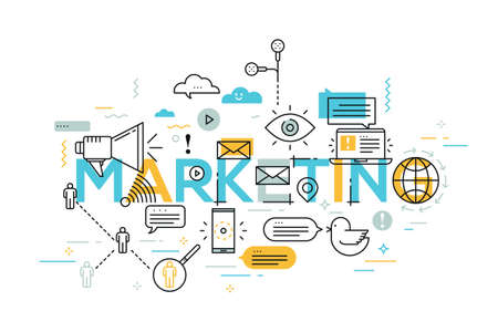 keyword research: Vector creative illustration of marketing word lettering typography with line icons on white background. Marketing technology concept. Thin line art style design for promotion and advertising
