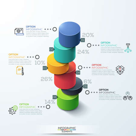 column chart: Modern infographic template cylinder column chart design. Can be used for workflow layout, banner, number options, step up options, web design.