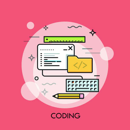 creation kit: Program code window, keyboard, pencil, ruler and folder. Software, front-end web development and coding concept. Illustration in thin line style for website, mobile application, banner, header.