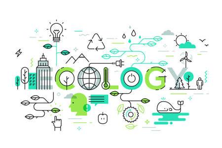 Ecología y concepto de concepto de medio ambiente, línea delgada diseño plano