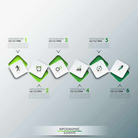story time: Infographic design template with timeline and 6 connected square elements in green color Illustration