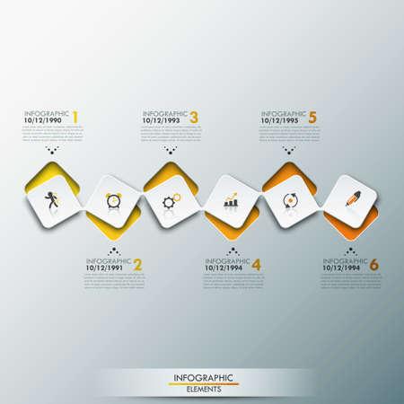 Infografisch ontwerp sjabloon met tijdlijn en 6 verbonden vierkante elementen in gele kleur