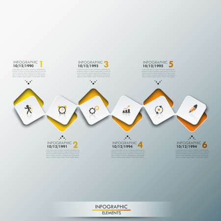 Infographic design template with timeline and 6 connected square elements in yellow color
