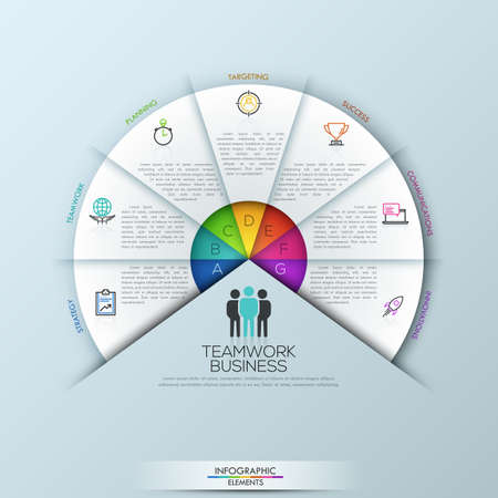 sectoral: Circular infographic design template with 7 sectoral elements connected with center