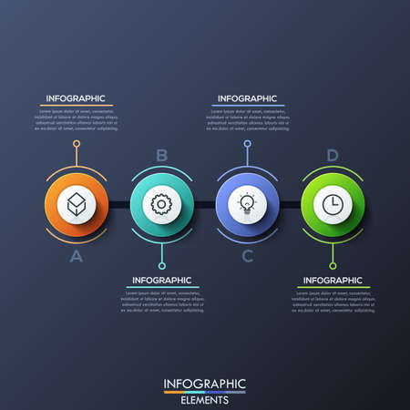 Infographic design template with 4 lettered circular elements
