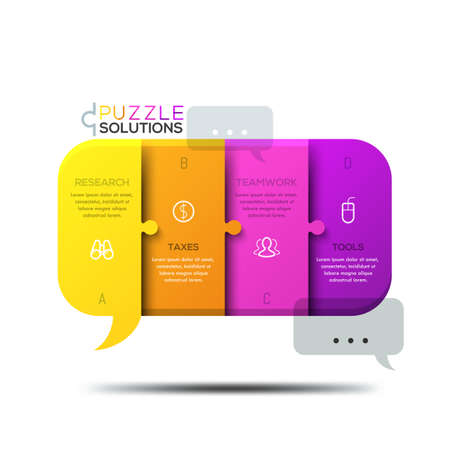 messages: Modern infographic design template, jigsaw puzzle in shape of speech bubble
