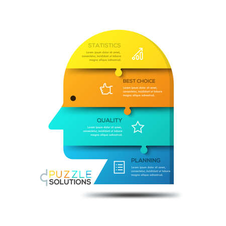 rationality: Modern infographic design template, jigsaw puzzle in shape of human head Illustration