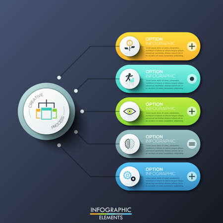 unique characteristics: Modern infographic design template with 5 rounded rectangles