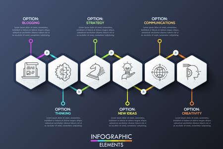 Infografisch ontwerp sjabloon met 6 hexagons verbonden door pijlen