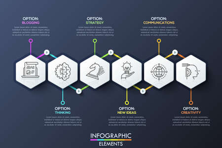 Infographic design template with 6 hexagons connected by arrows