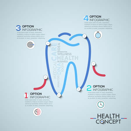 dental research: Infographic design template with elements connected by lines in shape of tooth Illustration