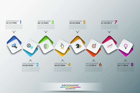 Infographic design template with timeline and 8 connected square elements