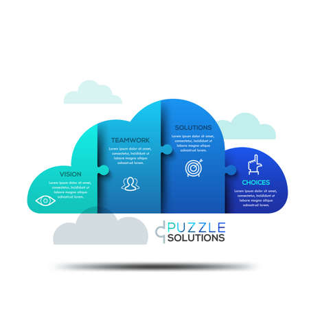 cloud shape: Modern infographic design layout, jigsaw puzzle in shape of cloud Illustration