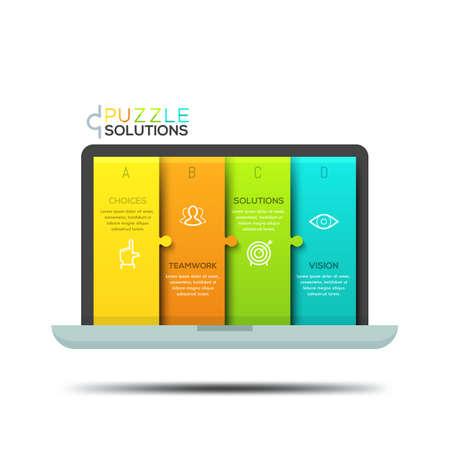 モダンなインフォ グラフィック デザイン テンプレート、ノート パソコンの画面の形のジグソー パズル