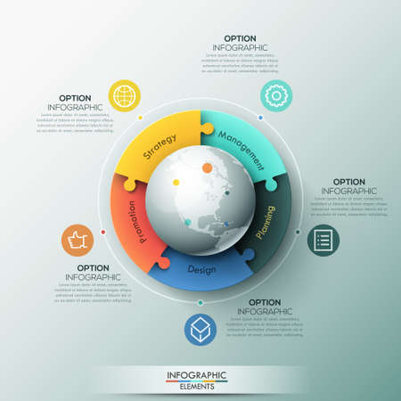 Infographic design template, 5 connected jigsaw puzzle pieces located around globe Illustration